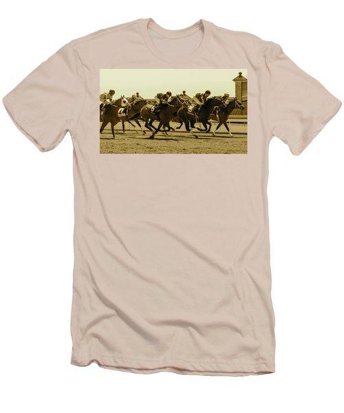 Keenland Sepia Men's T-Shirt (Slim Fit) by Dan Hefle