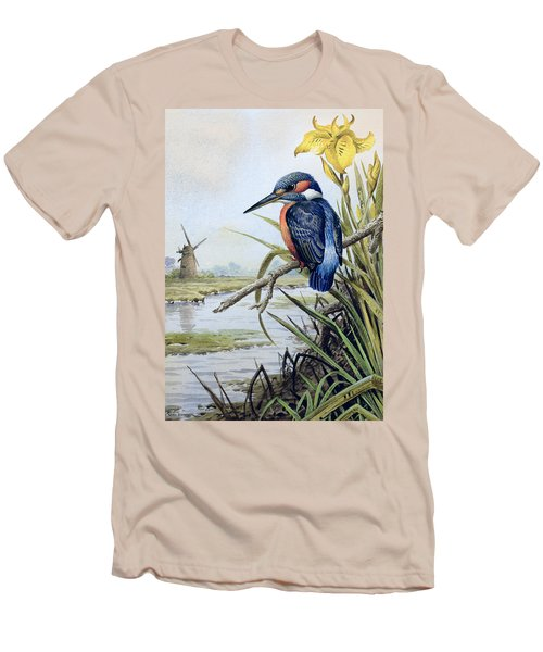 Kingfisher With Flag Iris And Windmill Men's T-Shirt (Slim Fit) by Carl Donner