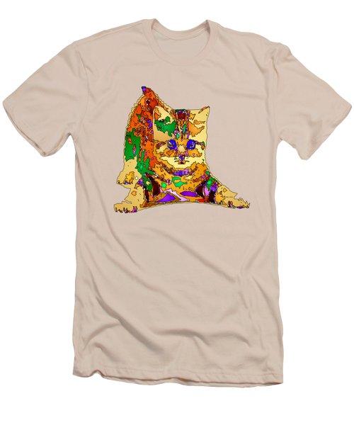 Kitty Love. Pet Series Men's T-Shirt (Slim Fit) by Rafael Salazar