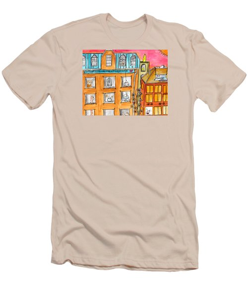 Men's T-Shirt (Slim Fit) featuring the painting Kittyscape Hotel by Lou Belcher