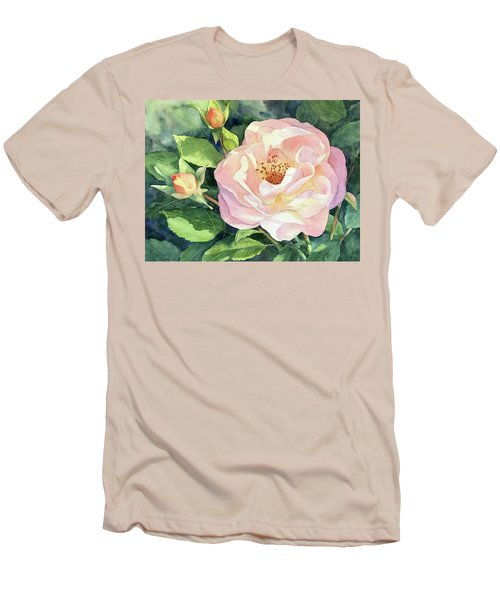 Men's T-Shirt (Slim Fit) featuring the painting Knockout Rose And Buds by Vikki Bouffard
