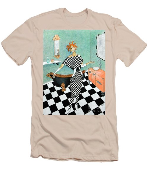 La Toilette -- Woman In Whimsical Art Deco Bathroom Men's T-Shirt (Athletic Fit)