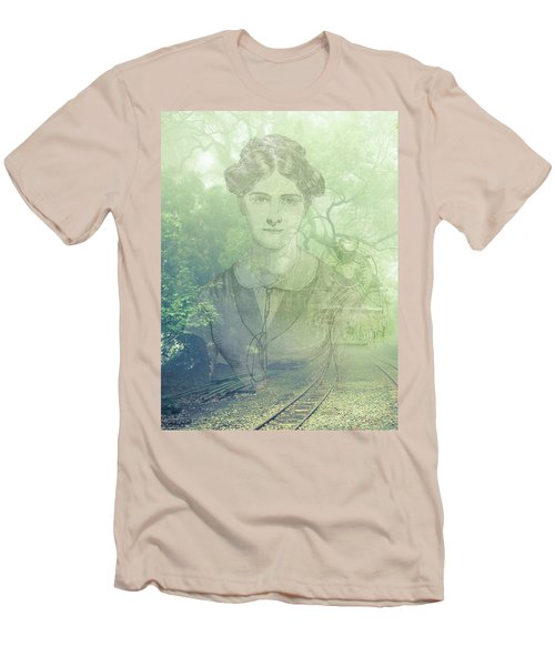 Men's T-Shirt (Slim Fit) featuring the mixed media Lady On The Tracks by Angela Hobbs