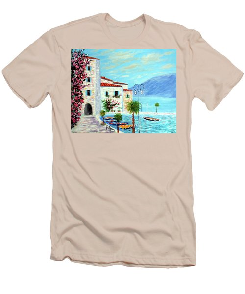 Men's T-Shirt (Slim Fit) featuring the painting Lake Garda Bliss by Larry Cirigliano
