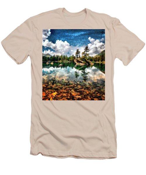 Lake Island View Men's T-Shirt (Slim Fit) by Mario Carini