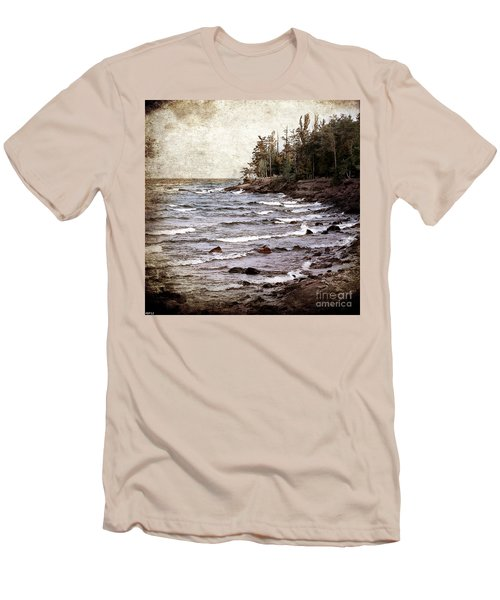 Men's T-Shirt (Slim Fit) featuring the photograph Lake Superior Waves by Phil Perkins