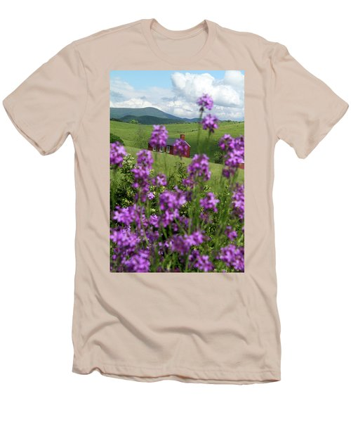 Men's T-Shirt (Slim Fit) featuring the photograph Landscape With Purple Flowers In Virginia by Emanuel Tanjala