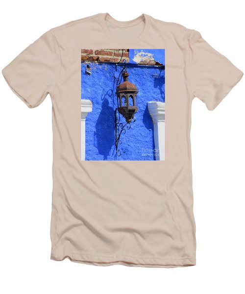 Lantern On Blue Wall Men's T-Shirt (Slim Fit) by Randall Weidner