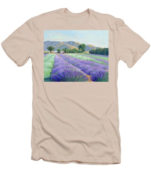 Lavender Lines Men's T-Shirt (Slim Fit) by Sandy Fisher