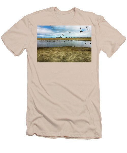 Lb Seagull Pond Men's T-Shirt (Slim Fit) by Joseph Hollingsworth