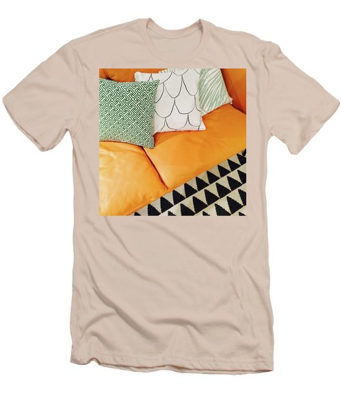 Leather Sofa With Ornamental Cushions Men's T-Shirt (Slim Fit) by GoodMood Art