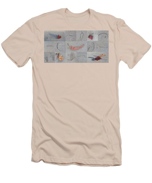 Men's T-Shirt (Slim Fit) featuring the photograph Leaves And Cracks Collage by Ben and Raisa Gertsberg