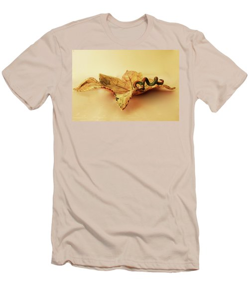Men's T-Shirt (Slim Fit) featuring the photograph Leaf Plate 1 by Itzhak Richter