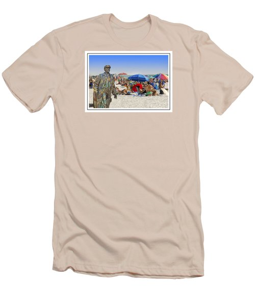 Lenin Goes To The Beach White Border Men's T-Shirt (Athletic Fit)