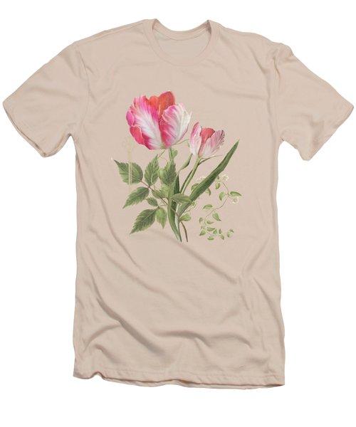 Les Magnifiques Fleurs I - Magnificent Garden Flowers Parrot Tulips N Indigo Bunting Songbird Men's T-Shirt (Slim Fit) by Audrey Jeanne Roberts