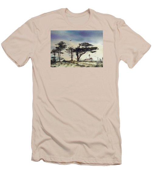 Men's T-Shirt (Slim Fit) featuring the painting Lighthouse Coast by James Williamson