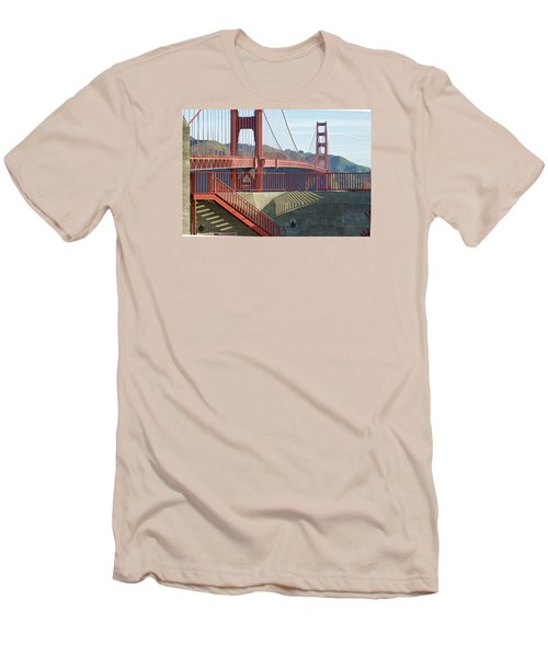 Men's T-Shirt (Athletic Fit) featuring the photograph Linear Golden Gate Bridge by Steve Siri