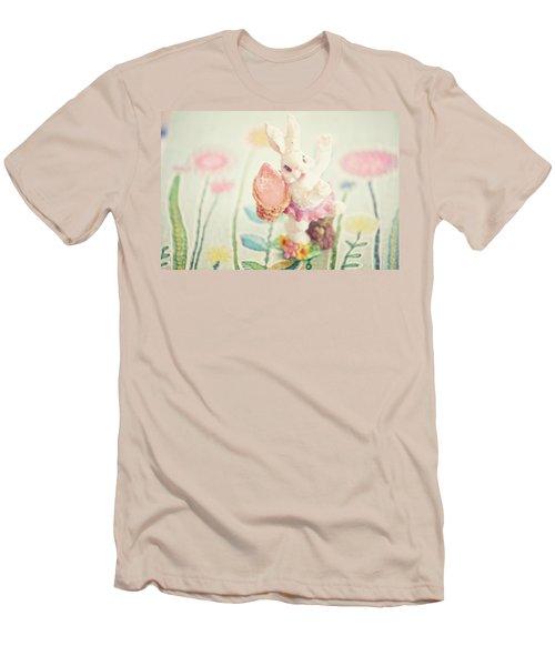 Little Bunny In The Garden Men's T-Shirt (Slim Fit) by Toni Hopper