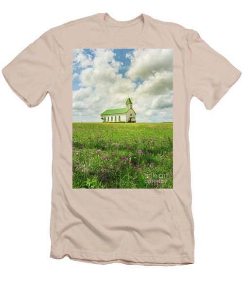 Little Church On Hill Of Wildflowers Men's T-Shirt (Slim Fit) by Robert Frederick