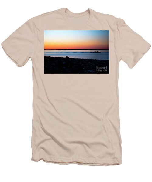 Lobster Boat In Maine Men's T-Shirt (Slim Fit) by Diane Diederich