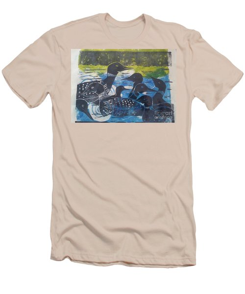 Men's T-Shirt (Slim Fit) featuring the mixed media Loon, I See by Cynthia Lagoudakis