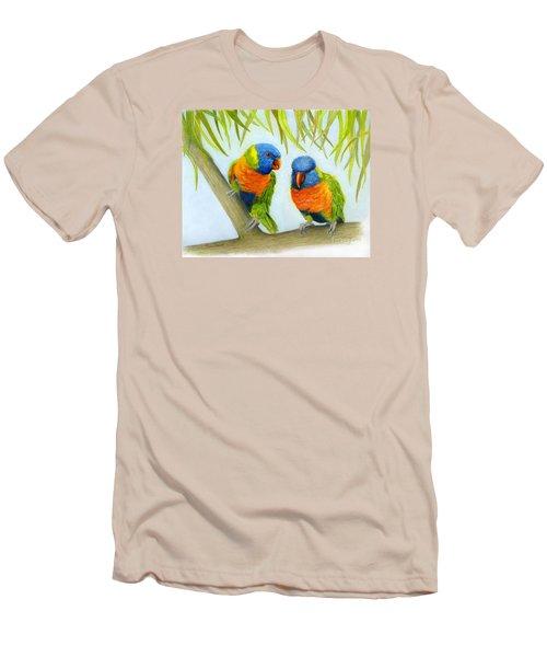 Lorikeet Pair Men's T-Shirt (Slim Fit) by Phyllis Howard