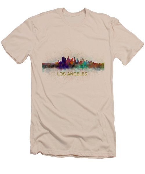 Los Angeles City Skyline Hq V4 Men's T-Shirt (Athletic Fit)