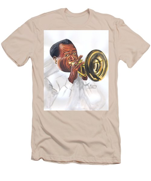 Men's T-Shirt (Slim Fit) featuring the painting Louis Armstrong by Emmanuel Baliyanga