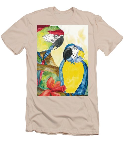 Men's T-Shirt (Slim Fit) featuring the painting Love Birds by Vicki  Housel