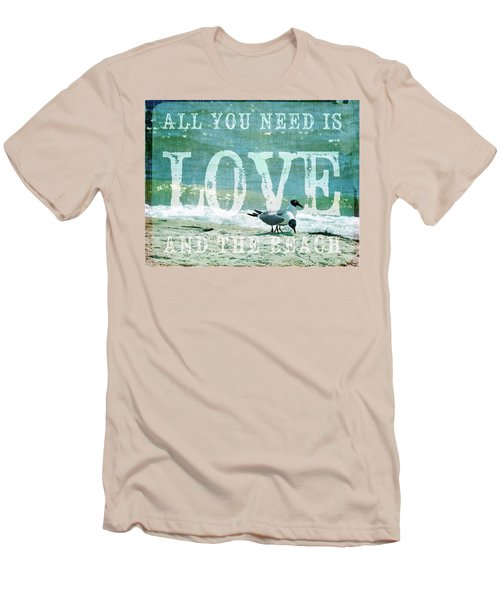 Love The Beach Men's T-Shirt (Slim Fit) by Jan Amiss Photography