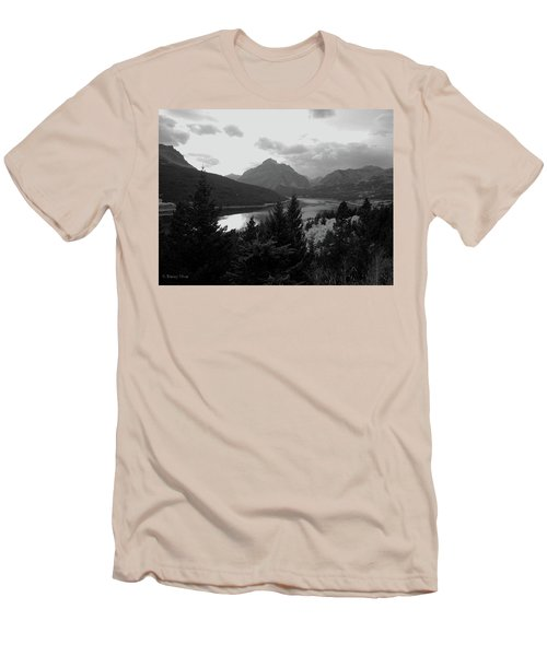 Lower Two Medicine Lake In Black And White Men's T-Shirt (Athletic Fit)