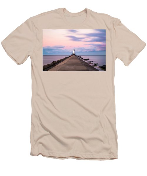 Men's T-Shirt (Slim Fit) featuring the photograph Ludington North Breakwater Light Sunrise by Adam Romanowicz