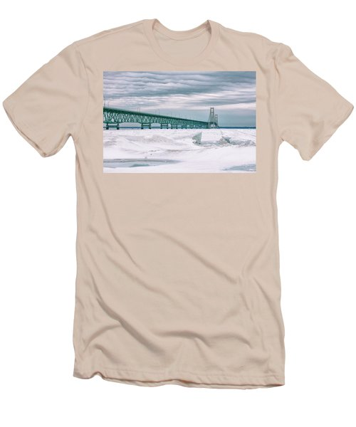 Men's T-Shirt (Slim Fit) featuring the photograph Mackinac Bridge In Winter During Day by John McGraw