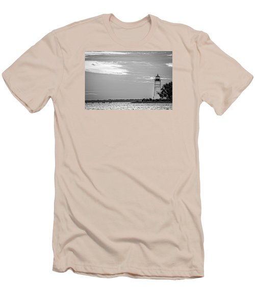 Madisonville Lighthouse In Black-and-white 2 Men's T-Shirt (Slim Fit) by Andy Crawford