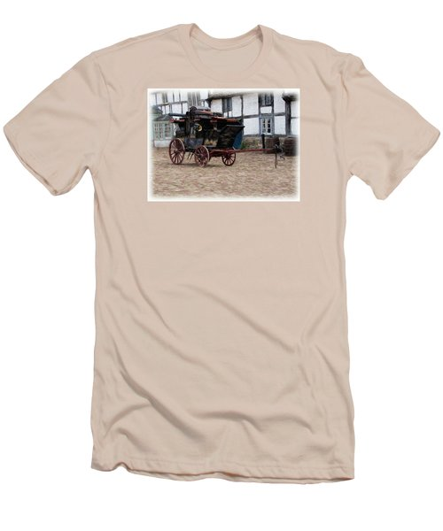 Men's T-Shirt (Slim Fit) featuring the digital art Mail Coach At Lacock by Paul Gulliver