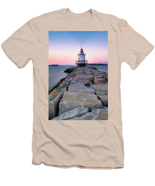 Men's T-Shirt (Slim Fit) featuring the photograph Maine Coastal Sunset Over The Spring Breakwater Lighthouse by Ranjay Mitra