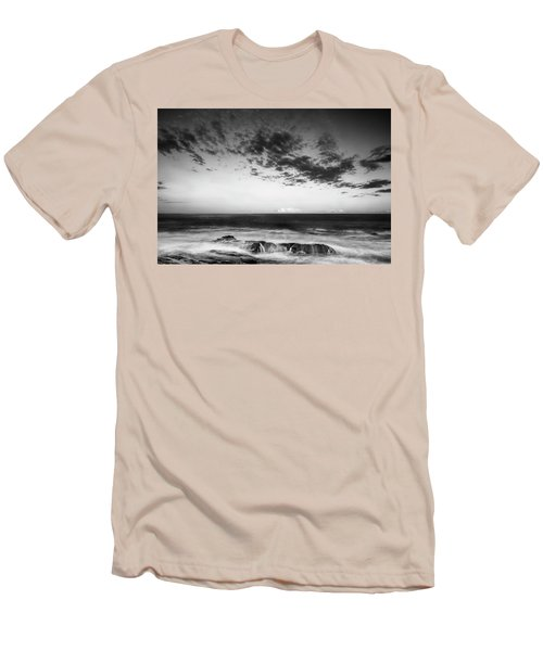 Maine Rocky Coast With Boulders And Clouds At Two Lights Park Men's T-Shirt (Slim Fit) by Ranjay Mitra