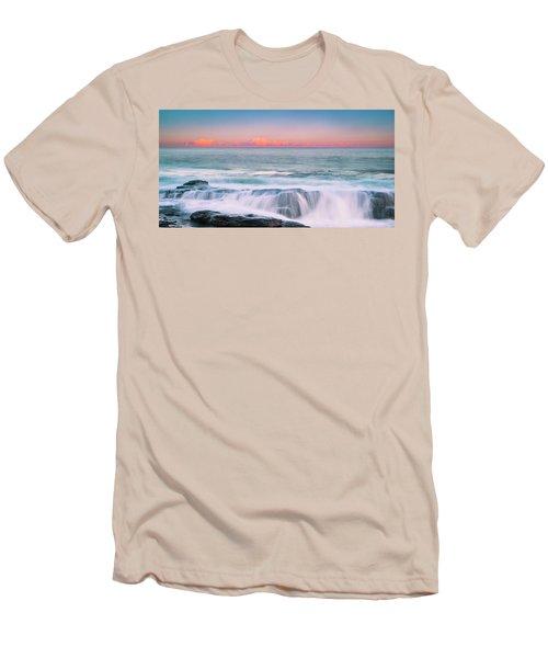 Maine Rocky Coastal Sunset Panorama Men's T-Shirt (Slim Fit) by Ranjay Mitra