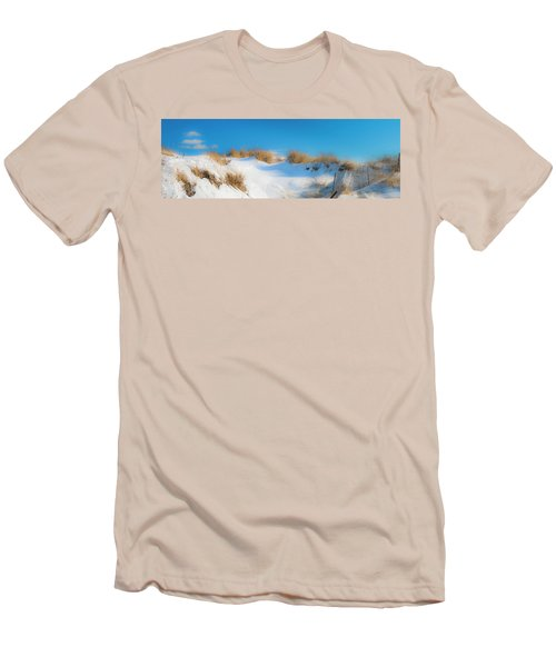 Maine Snow Dunes On Coast In Winter Panorama Men's T-Shirt (Slim Fit) by Ranjay Mitra