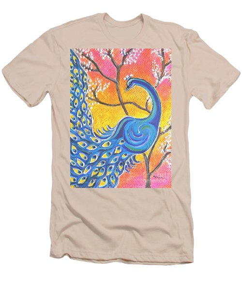 Majestic Peacock Colorful Textured Art Men's T-Shirt (Athletic Fit)