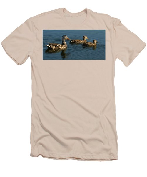 Men's T-Shirt (Slim Fit) featuring the photograph Mallard Family Outing by Jean Noren