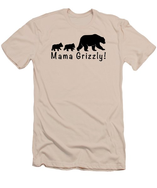 Mama Grizzly And Cubs Men's T-Shirt (Slim Fit) by A C