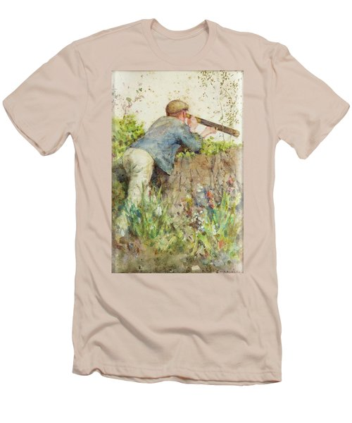 Men's T-Shirt (Slim Fit) featuring the painting Man Looking Through A Telescope by Henry Scott Tuke