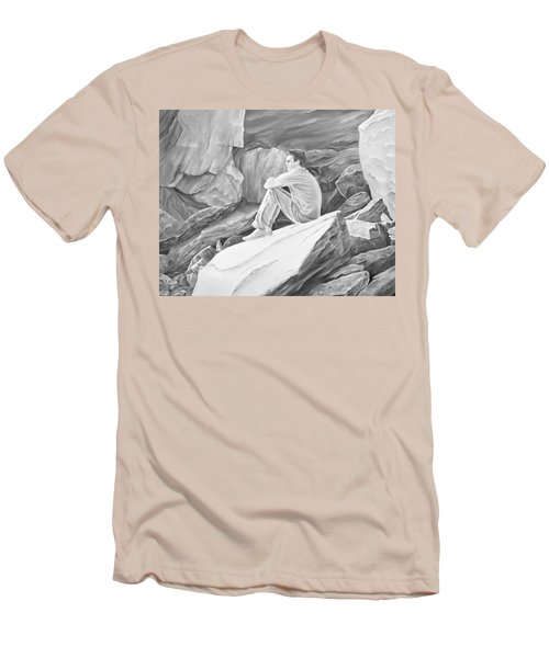 Men's T-Shirt (Athletic Fit) featuring the mixed media Man On The Rocks II by Elizabeth Lock