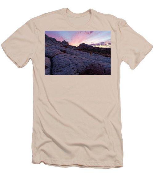 Men's T-Shirt (Slim Fit) featuring the photograph Man's Best Friend Sunset by Jonathan Davison