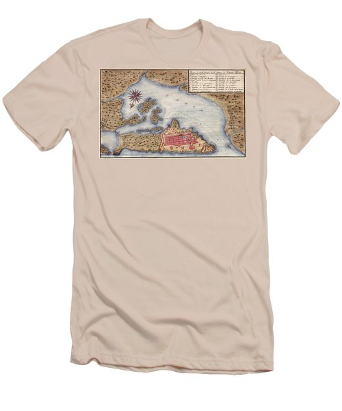 Map Of San Juan 1770 Men's T-Shirt (Slim Fit) by Andrew Fare
