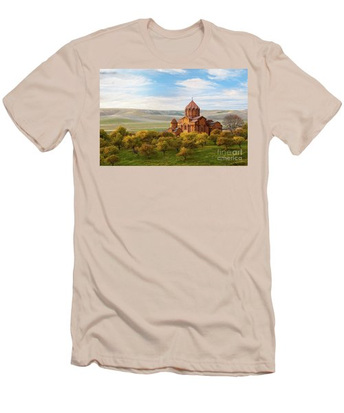 Marmashen Monastery Surrounded By Yellow Trees At Autumn, Armeni Men's T-Shirt (Slim Fit) by Gurgen Bakhshetsyan