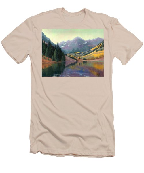 Men's T-Shirt (Slim Fit) featuring the painting Maroon Bells In October by Janet King