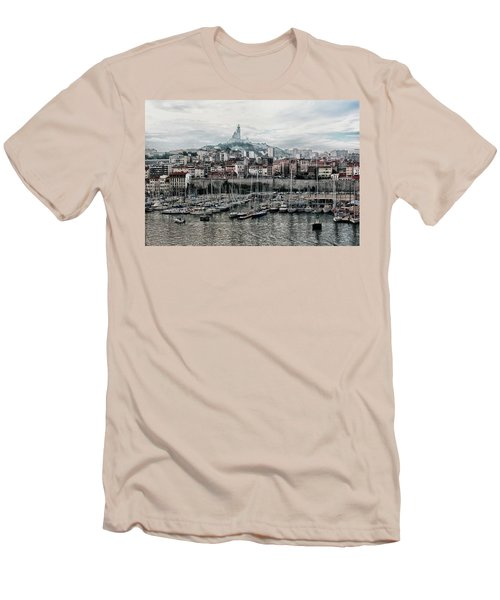 Men's T-Shirt (Slim Fit) featuring the photograph Marseilles France Harbor by Alan Toepfer