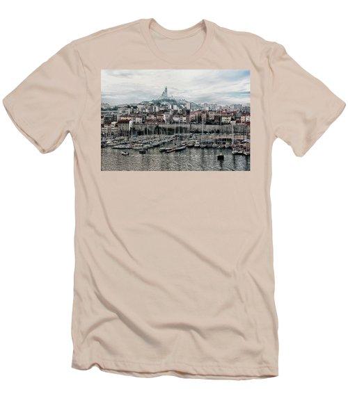 Marseilles France Harbor Men's T-Shirt (Slim Fit) by Alan Toepfer